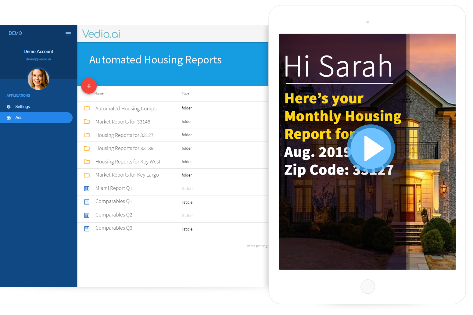 Vedia helps realtors automate all video creation tasks