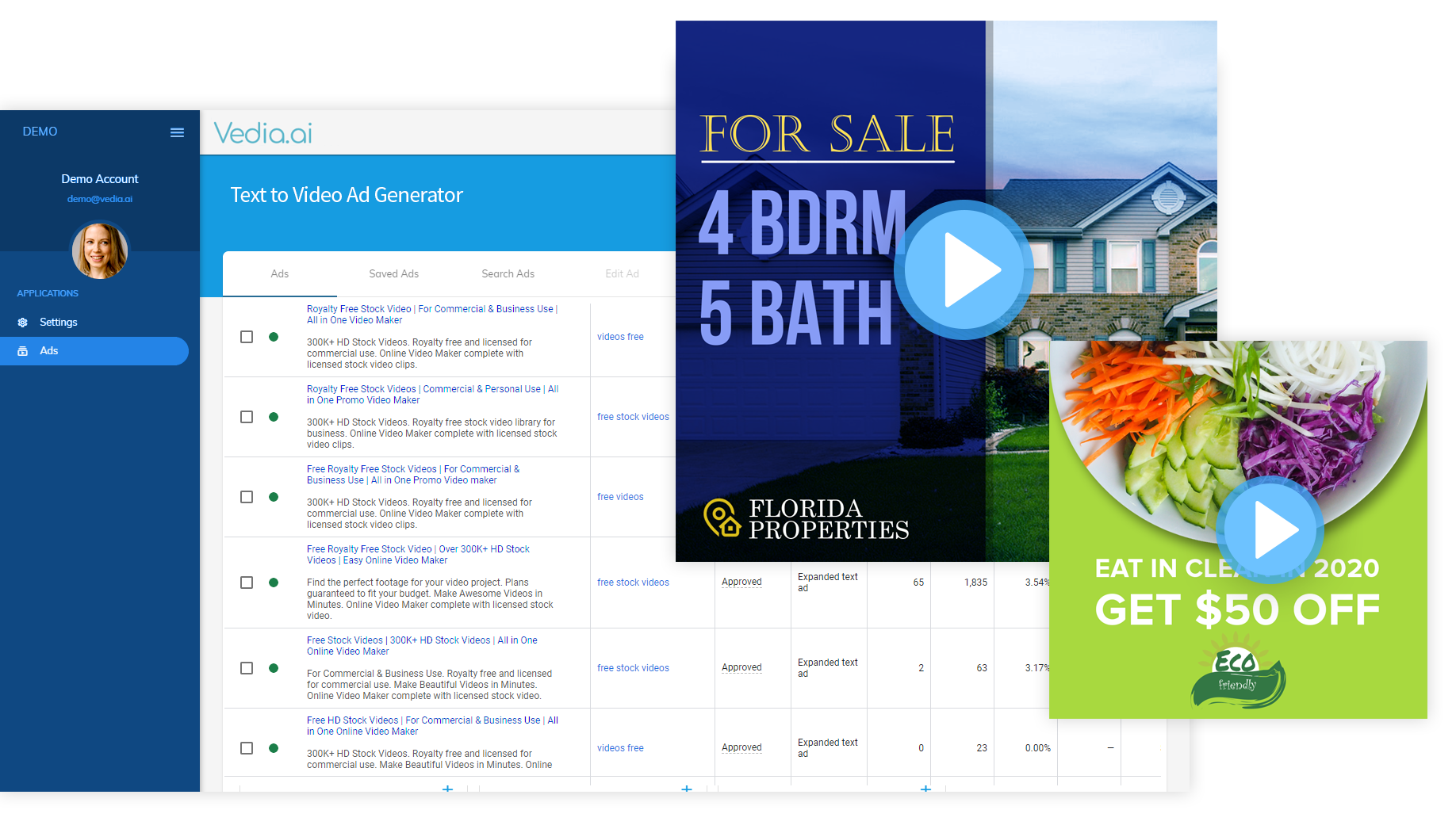 Screenshot of the dynamic video advertisements platform